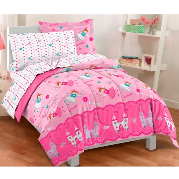 Girls Pink Magical Princess Themed Comforter Twin Set Cute Flying Fairies Bedding Castles Flowers Princesses Fairys Florals Hearts Stars Teal Blue - Diamond Home USA