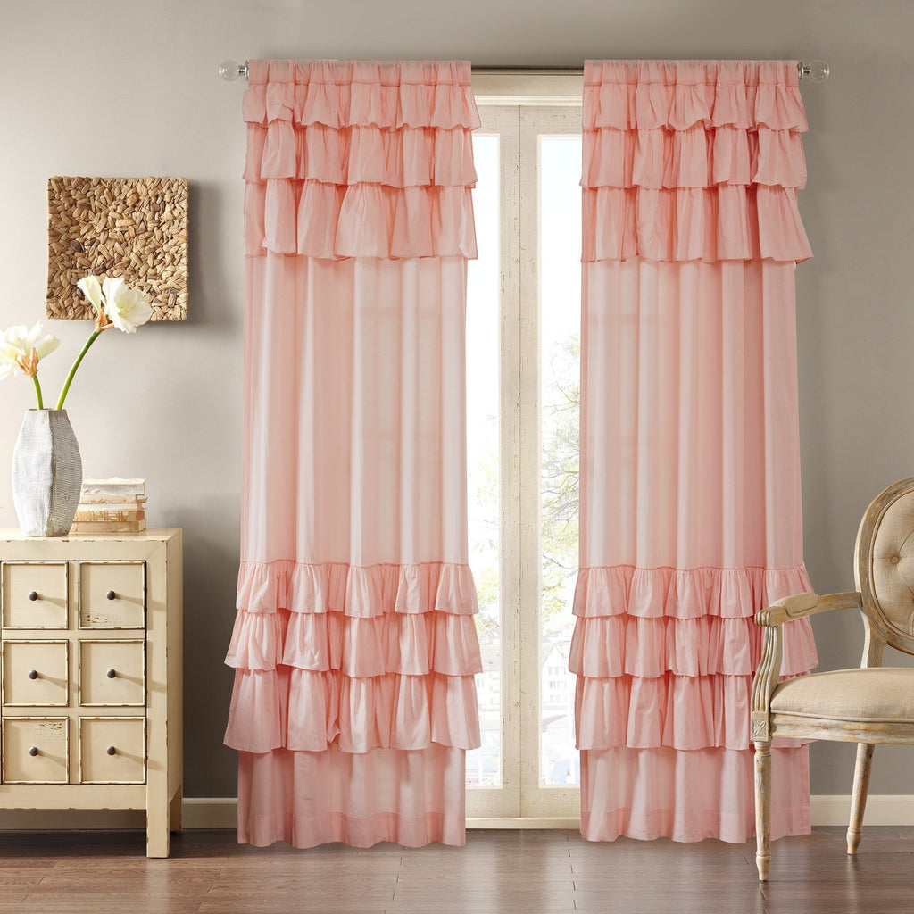 Girls Gypsy Window Curtain Single Panel Bohemian Ruffled Pattern Layered Overlapping Ruffles Gypsies Hippie