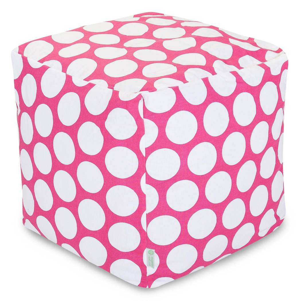 Square Shape Ottoman Cotton Large Polka Dot Pattern Pouf Assemble Eco Friendly Zippered Slipcover Decorative White