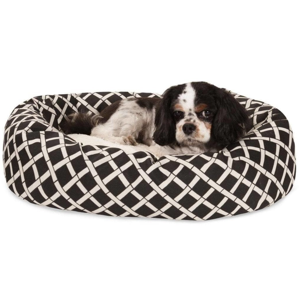 Large Cross Plaid Sherpa Bagel Dog Bed Elegant Gingham Checkered Pet Bedding Round Shape Features Water Stain Resists Removable Cover Soft