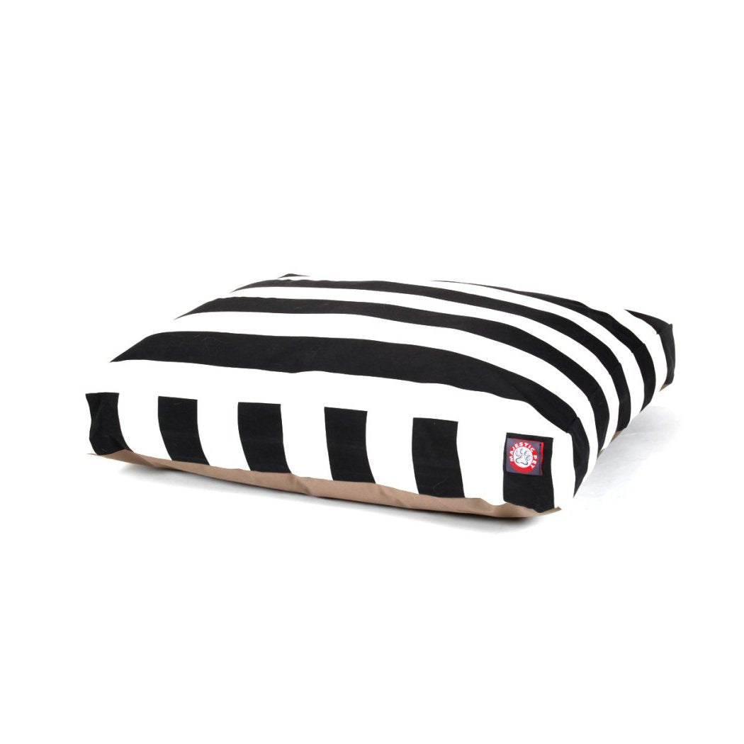 Large Cabana Stripes Pattern Dog Bed Elegant Bold Stripe Inspired Pet Bedding Rectangle Shape Features Water Stain Resists Removable Cover Soft