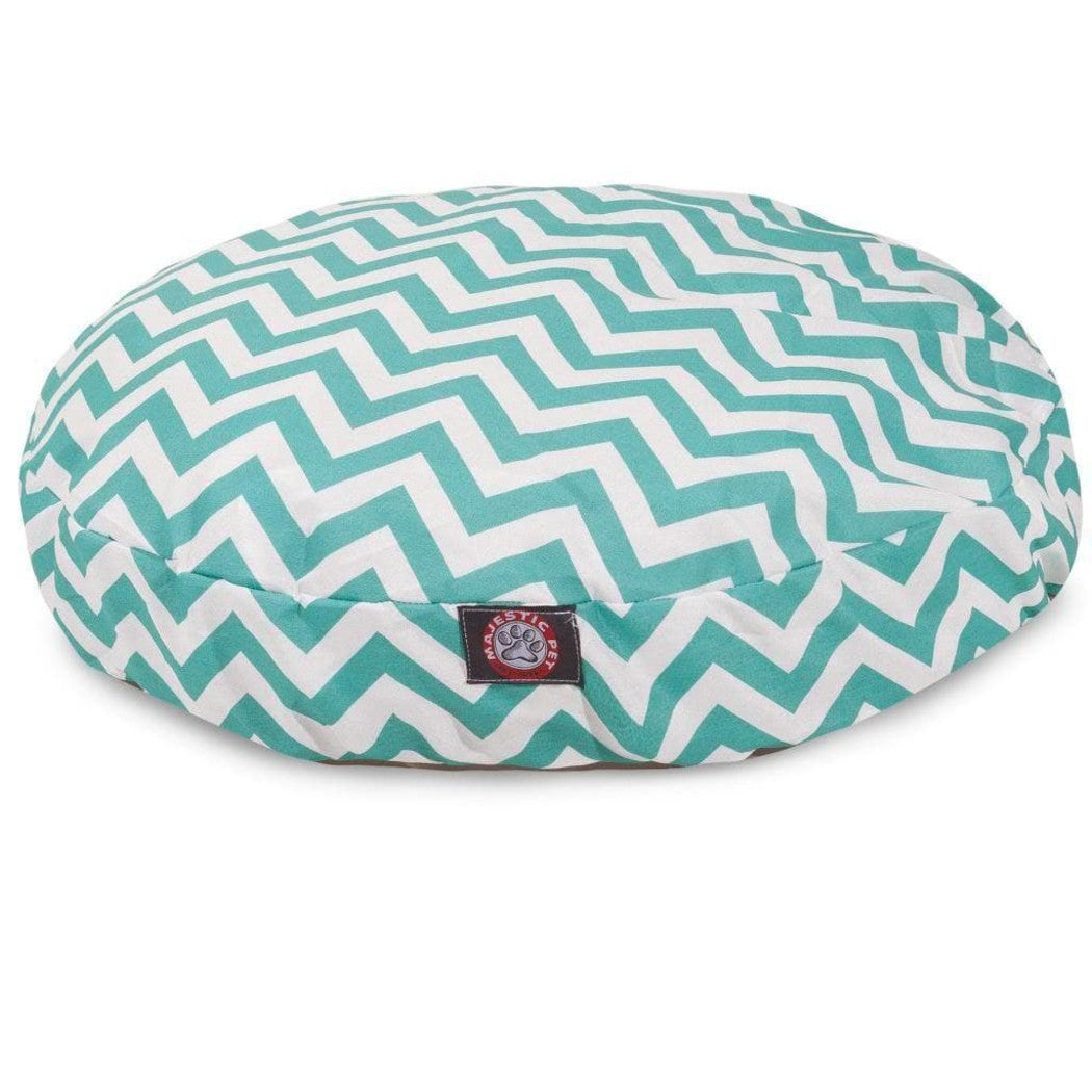 Large Chevron Stripes Pattern Dog Bed Elegant Zig Zag Stripe Inspired Pet Bedding Round Shape Features Water Stain Resists Removable Cover