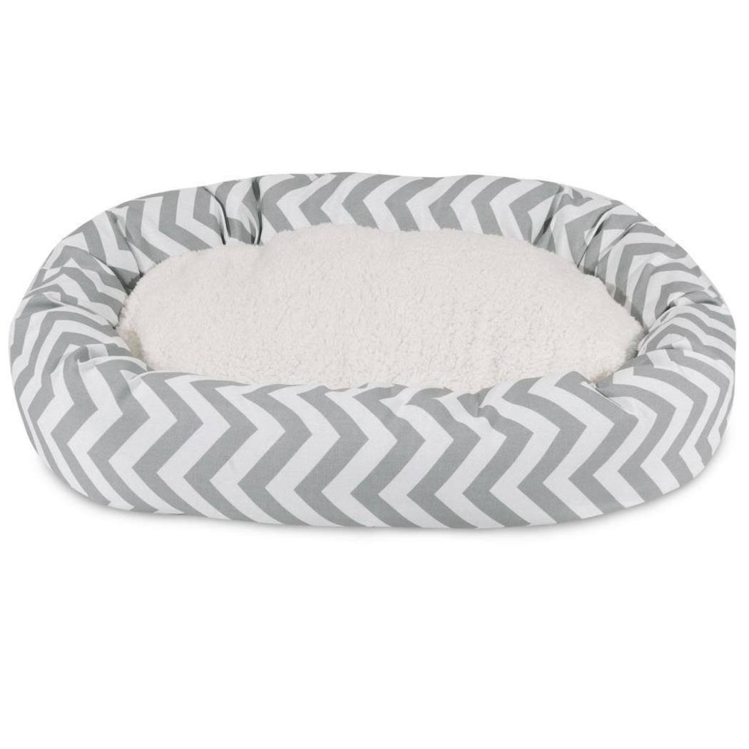 Extra Large Chevron Stripes Pattern Sherpa Dog Bed Zig Zag Lines Bagel Pet Bedding Round Shape Features Water Stain Resists Removable Cover Soft