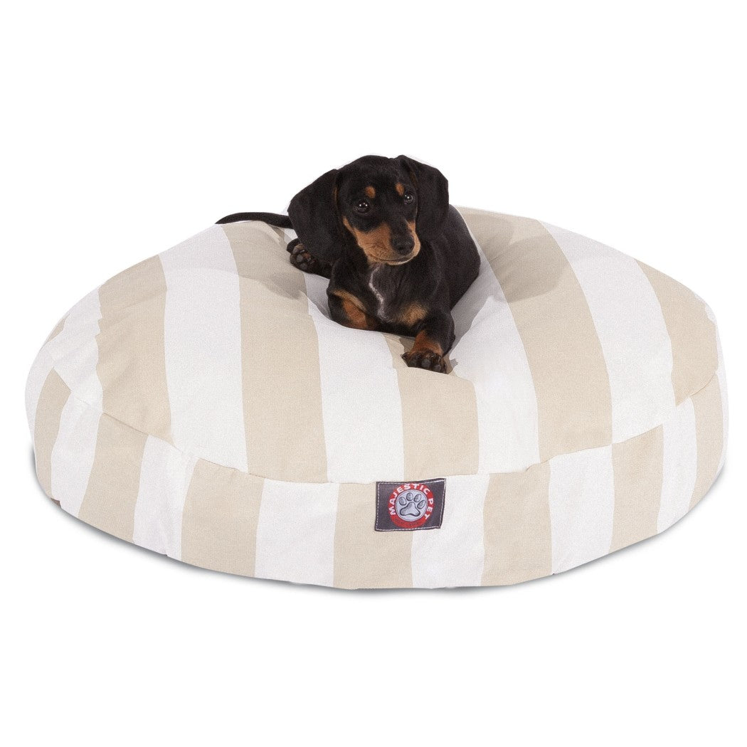 Large Bold Stripes Pattern Dog Bed Elegant Vertical Stripe Inspired Pet Bedding Round Shape Features Water Stain Resists Removable Cover Soft
