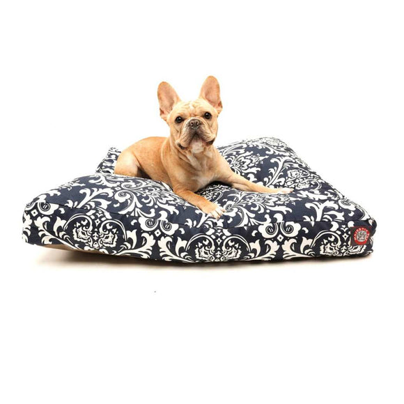 Damask Pattern Dog Bed (Extra Large Motif Floral Rectangle Doggy Bedding Features Removable Zippered Slipcover Machine Wash Soft Snuggly