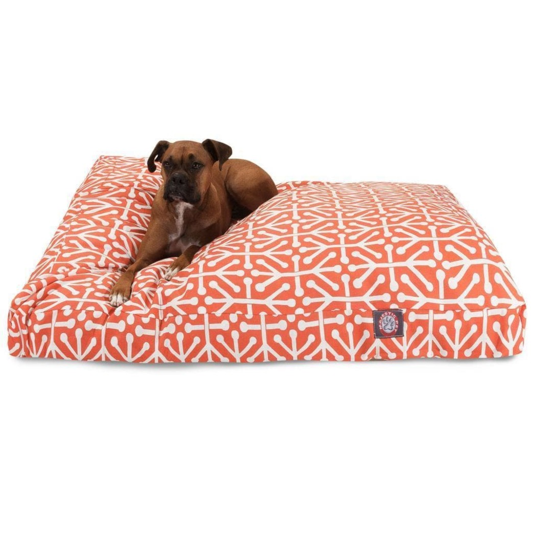 Citrus Geometric Large Dog Bed Chevron Jacquard Medallion Pattern Sleek Trendy Theme Bedding Indoor Outdoor Fluffy Soft Plush Rectangle Water