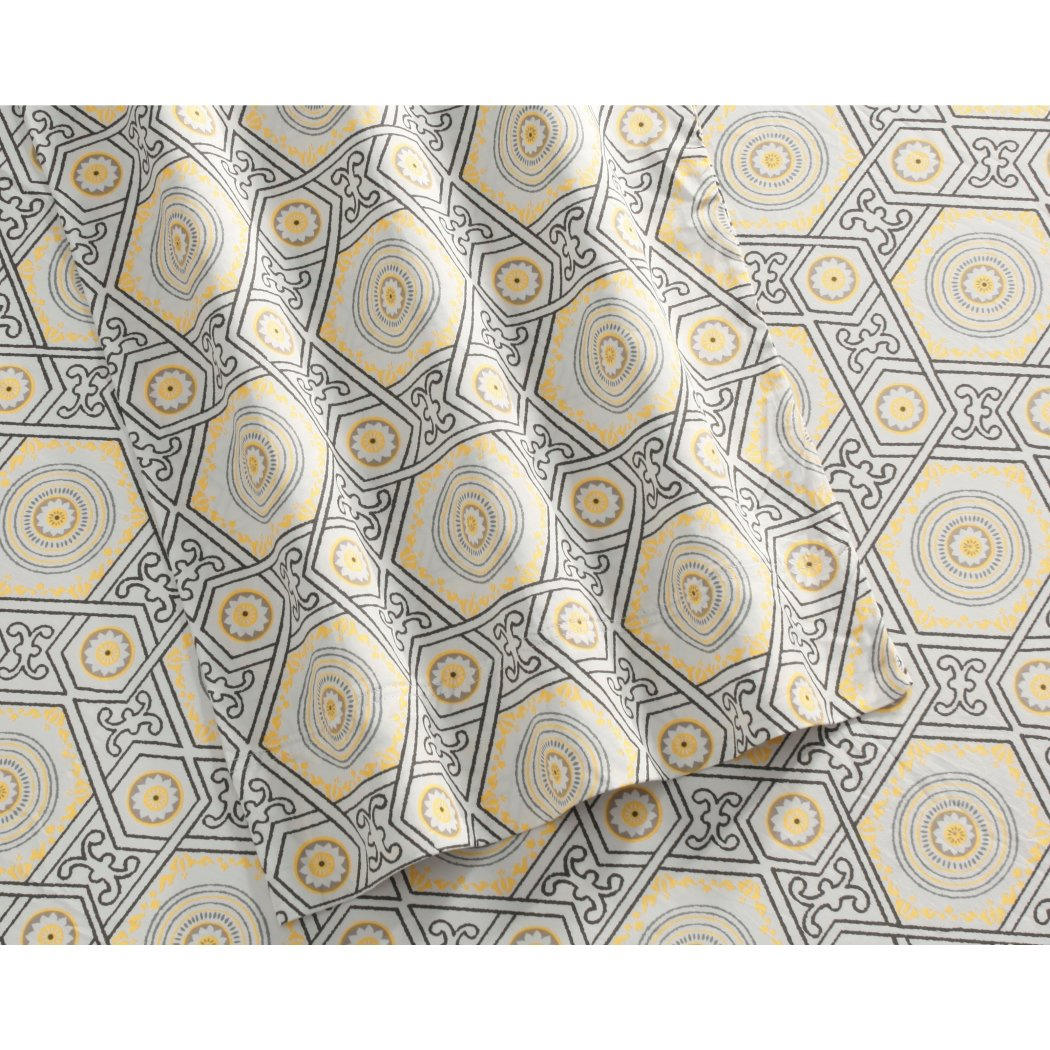 Cashmere Medallion Sheets Set Elegant Classic Geometric Design Bedding Background Features Extra Pockety