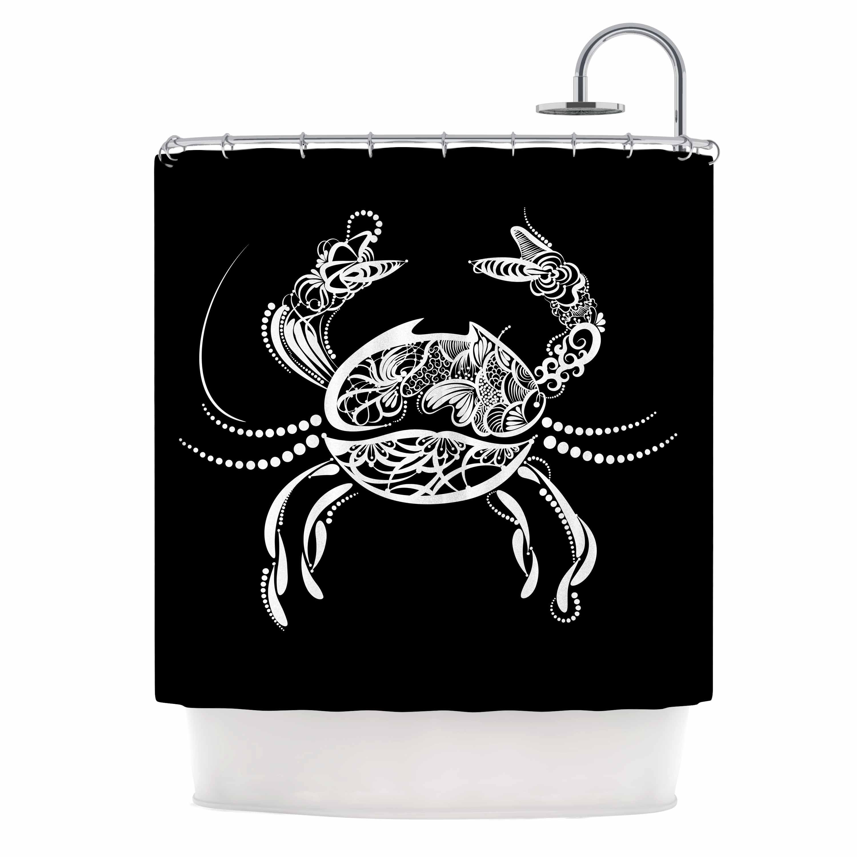 "Maria Bazarova "" Cancer Horoscope Sign"" Black White Vector Shower Curtain Polyester - Diamond Home USA"