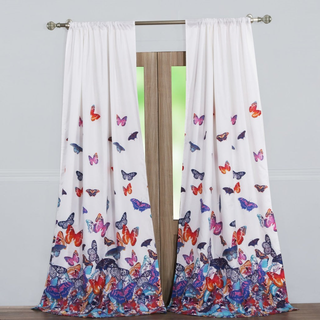 Pink Blue Butterfly Window Curtain Set 84 Inch Orange Animal Drapes Nature Novelty Light Filtering Light Blocking Window Drapery Lined - Diamond Home USA