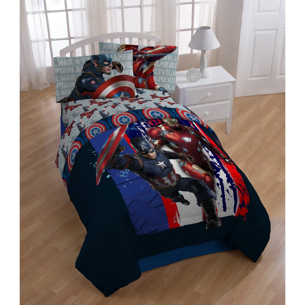 Superheroes Themed Comforter Twin Set Adorable Graphic Abstract Blue Red White Color Advantures Captain America Iron Man Bedding Boys Vibrant Colors - Diamond Home USA