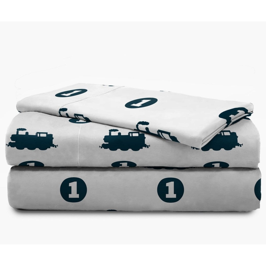White Blue Train Themed Sheets Twin Set Dark Navy Blue Locomotive Bedding Thomas Tank Engine Design Trains Pattern Polyester - Diamond Home USA