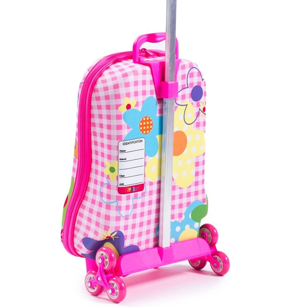 Bright Pink Rolling Briefcase Kids 3D Wings 3 wheel Carry Rolling Upright Animal Pattern Two Pockets Suitcase Fancy Colors Purple Yellow Sky Blue - Diamond Home USA