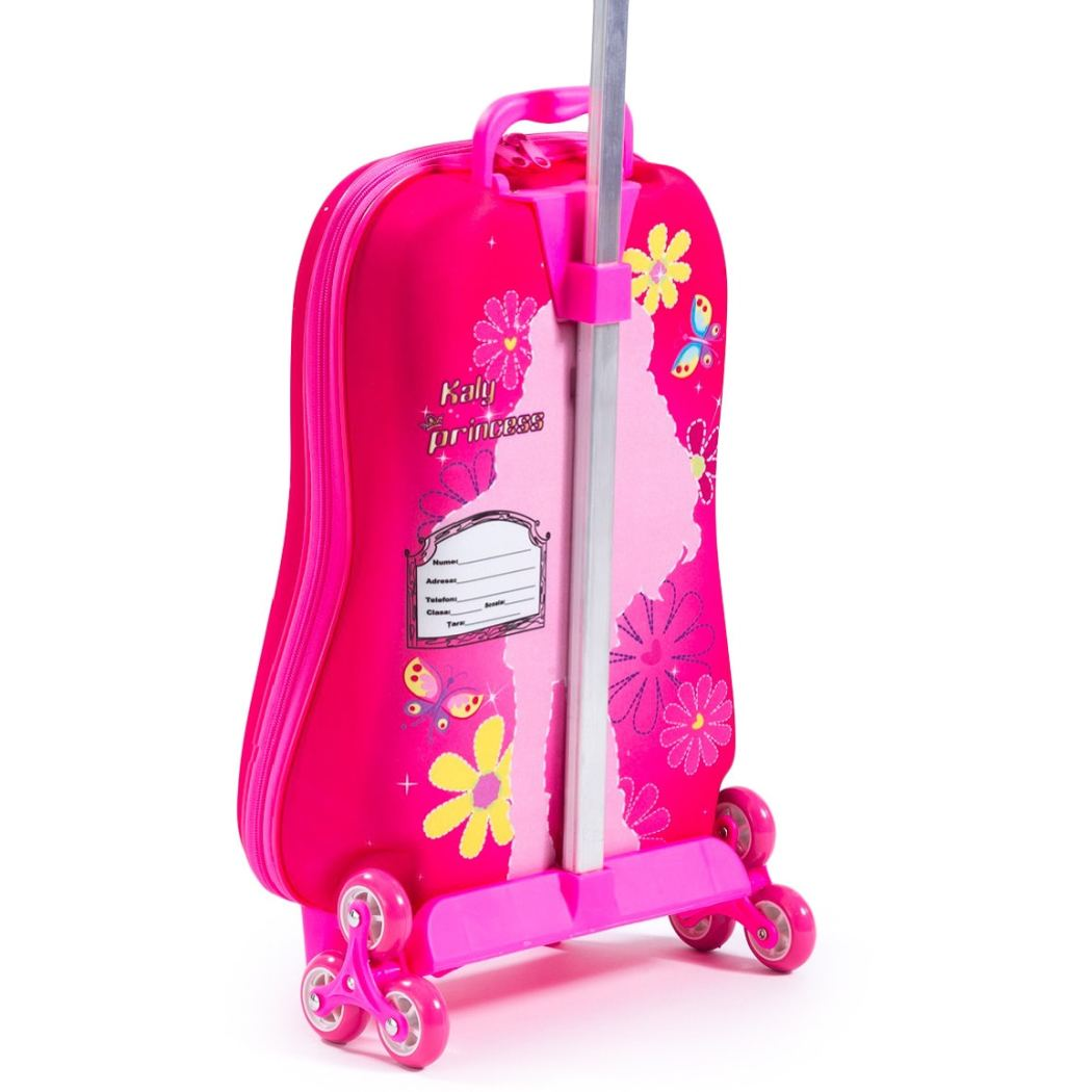 Bright Pink Children's 3D Kaly Princess Duffle Bag Carry Animal Pattern Rolling Duffle Travel Bag 3 Wheel Carry Trolley Bag Aluminium Two Pockets - Diamond Home USA