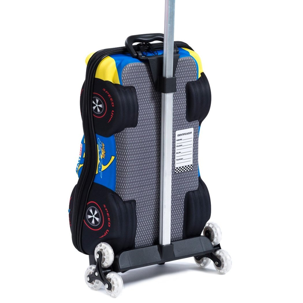 Blue Rolling Briefcase Kids 3D Super Power F1 3 wheel Carry Rolling Upright Suitcase Cars Pattern Aluminum Zipper Closure Double Meshed Internal - Diamond Home USA