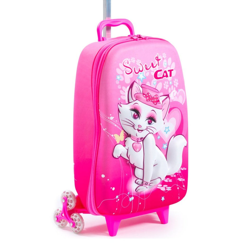 Girls Hot Pink Cat Suitcase Carry Pretty Kitty Kitten Rolling Upright Luggage - Diamond Home USA