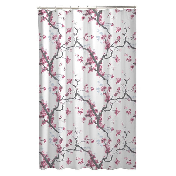 White Brown Pink Graphical Nature Themed Shower Curtain Polyester Lightweight Detailed Autumn Flower Printed Abstract Floral Pattern Classic Elegant - Diamond Home USA