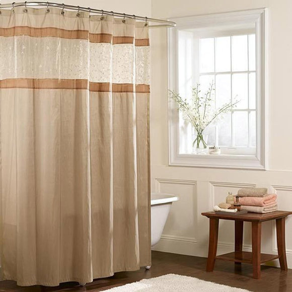 Brown Cream Horizontal Stripes Printed Shower Curtain Polyester Abstract Graphical Geometric Pattern Detailed Colorful Textures Printed Modern Elegant - Diamond Home USA
