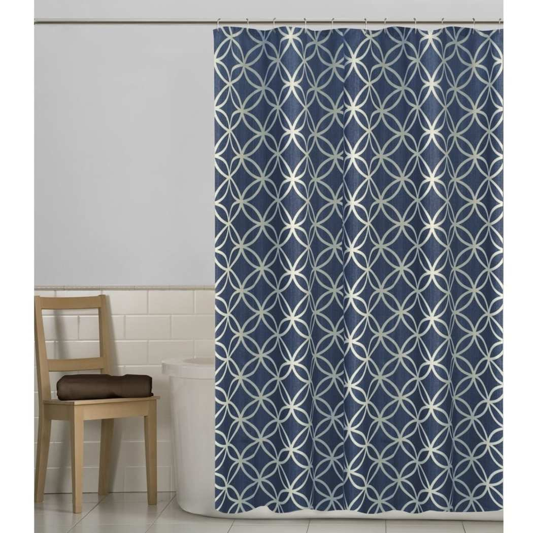 Geometric Pattern Shower Curtain Polyester Abstract Graphical Themed Detailed Spiral Ring Printed Modern Elegant Design