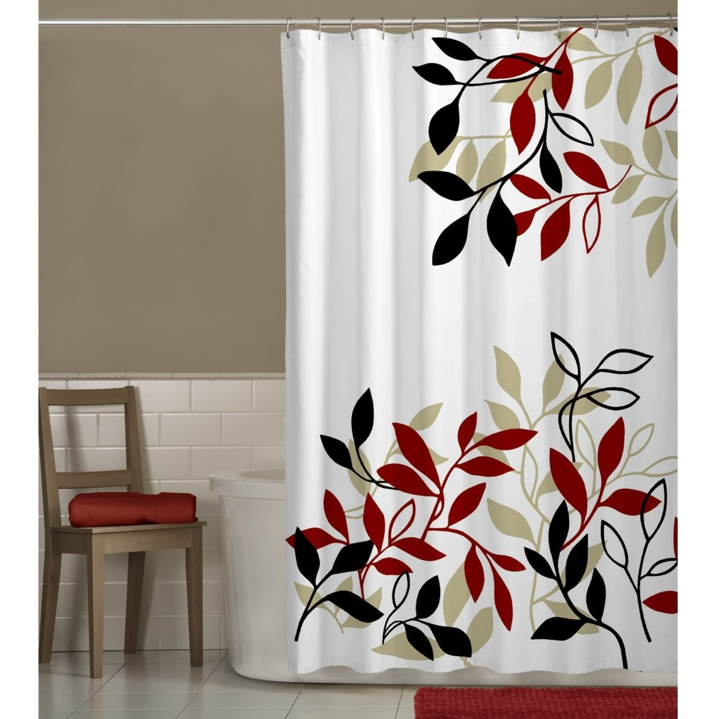 Red White Floral Pattern Shower Curtain Floral Graphic Themed Modern Elegant Design Floral Pattern Easy Maintain Colorful Polyester Flower Printed - Diamond Home USA