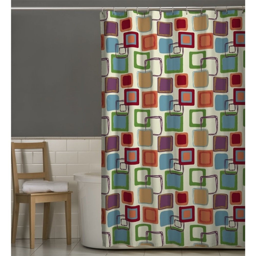 Red Green Geometric Pattern Shower Curtain Polyester Abstract Graphical Themed Detailed Colorful Square Box Printed Modern Elegant Design Artistic - Diamond Home USA