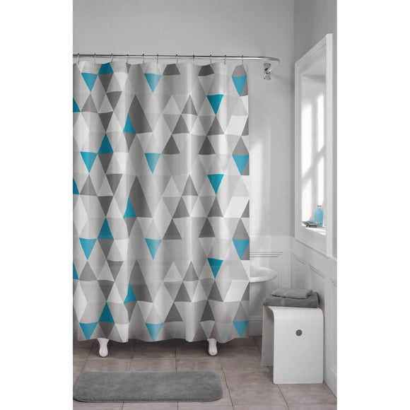 Blue Grey Geometric Pattern Shower Curtain Vinyl Abstract Graphical Themed Detailed Colorful Diamond Printed Modern Elegant Design Artistic View All - Diamond Home USA