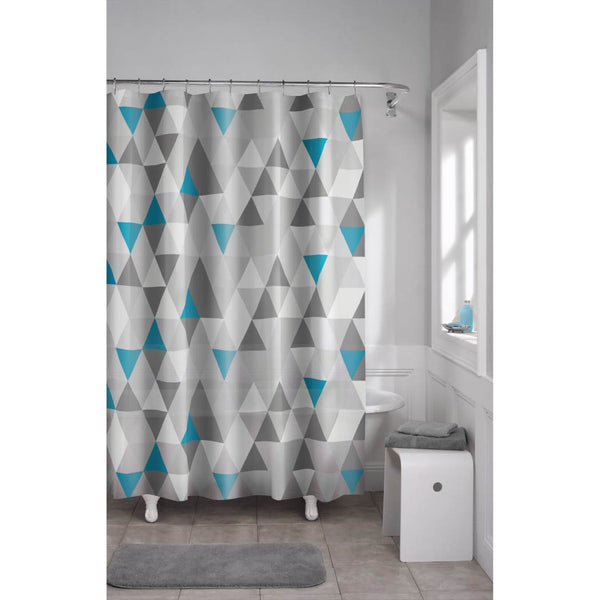 Blue Grey Geometric Pattern Shower Curtain Vinyl Abstract Graphical Themed Detailed Colorful Diamond Printed Modern Elegant