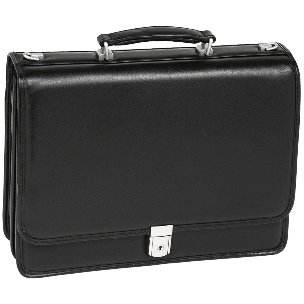 Black Double Compartment Full grain Cashmere Leather Attorney Briefcase - Diamond Home USA