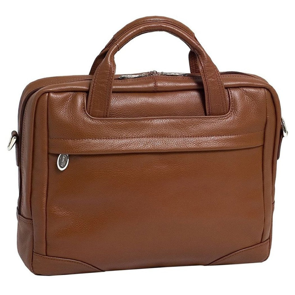 Brown Litigator Briefcase Leather Solid Shoulder Strap Zipper Attachme - Diamond Home USA