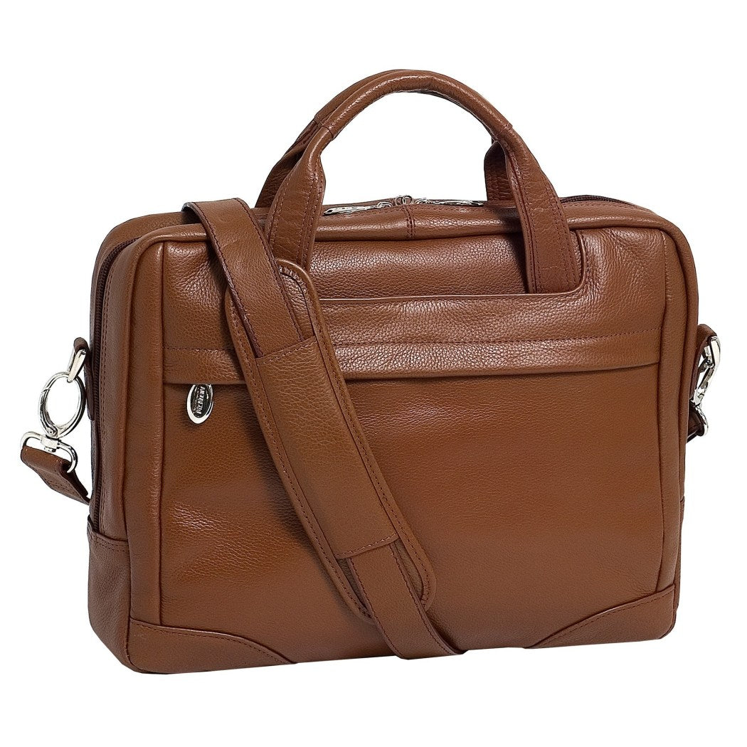 Brown Litigator Briefcase Leather Solid Business Softsided Zipper Attachment - Diamond Home USA