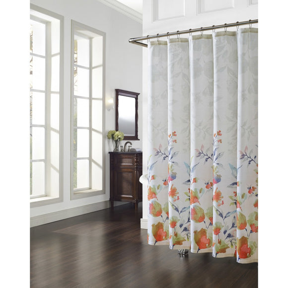 White Orange Blue Graphical Nature Themed Shower Curtain Cotton Lightweight Detailed Flower Printed Abstract Floral Pattern Classic Elegant Design - Diamond Home USA