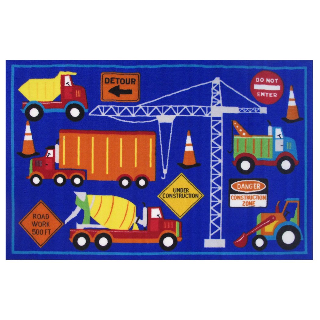 "3'3""x4'8"" Kids Blue Red Construction Loader Bulldozer Mixer Crane Printed Accent Rug Indoor Graphical Pattern Playroom Rectangle Carpet Graphic Art - Diamond Home USA"