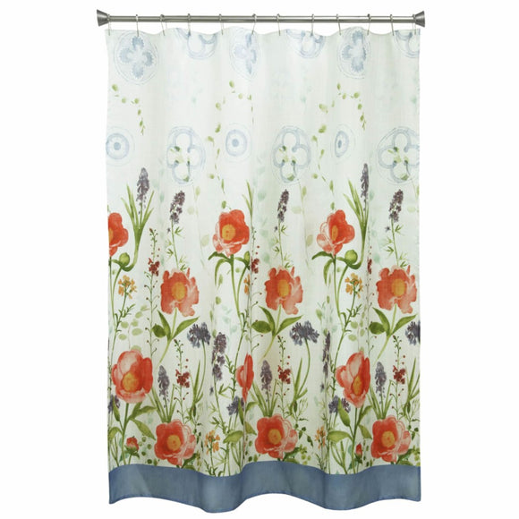 Red Green Blue Graphical Nature Themed Shower Curtain Polyester Lightweight Detailed Spring Flowers Printed Abstract Floral Pattern Classic Elegant - Diamond Home USA