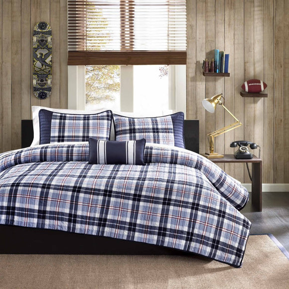 Off Madras Plaid Coverlet Set Glen Checkered Bedding Tartan Check Lodge Cabin Themed Country Woven Pattern Red