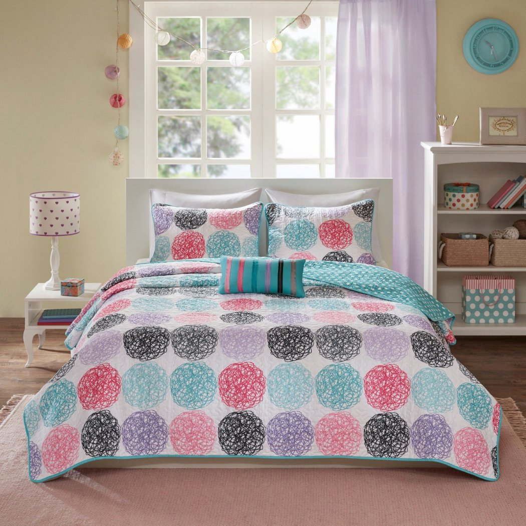 Kids Polka Dot Coverlet Set Girls Doodle Circle Pattern Dots Circles Unique Sleek Trendy Bedding Microfiber
