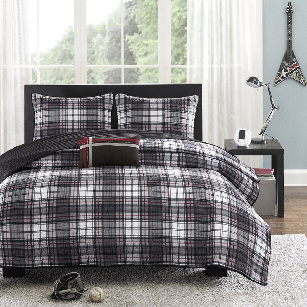 Tartan Plaid Pattern Coverlet Set Luxurious Lodge Madras Checkered Design Soft Warmth Bedding Classic Casual Bold