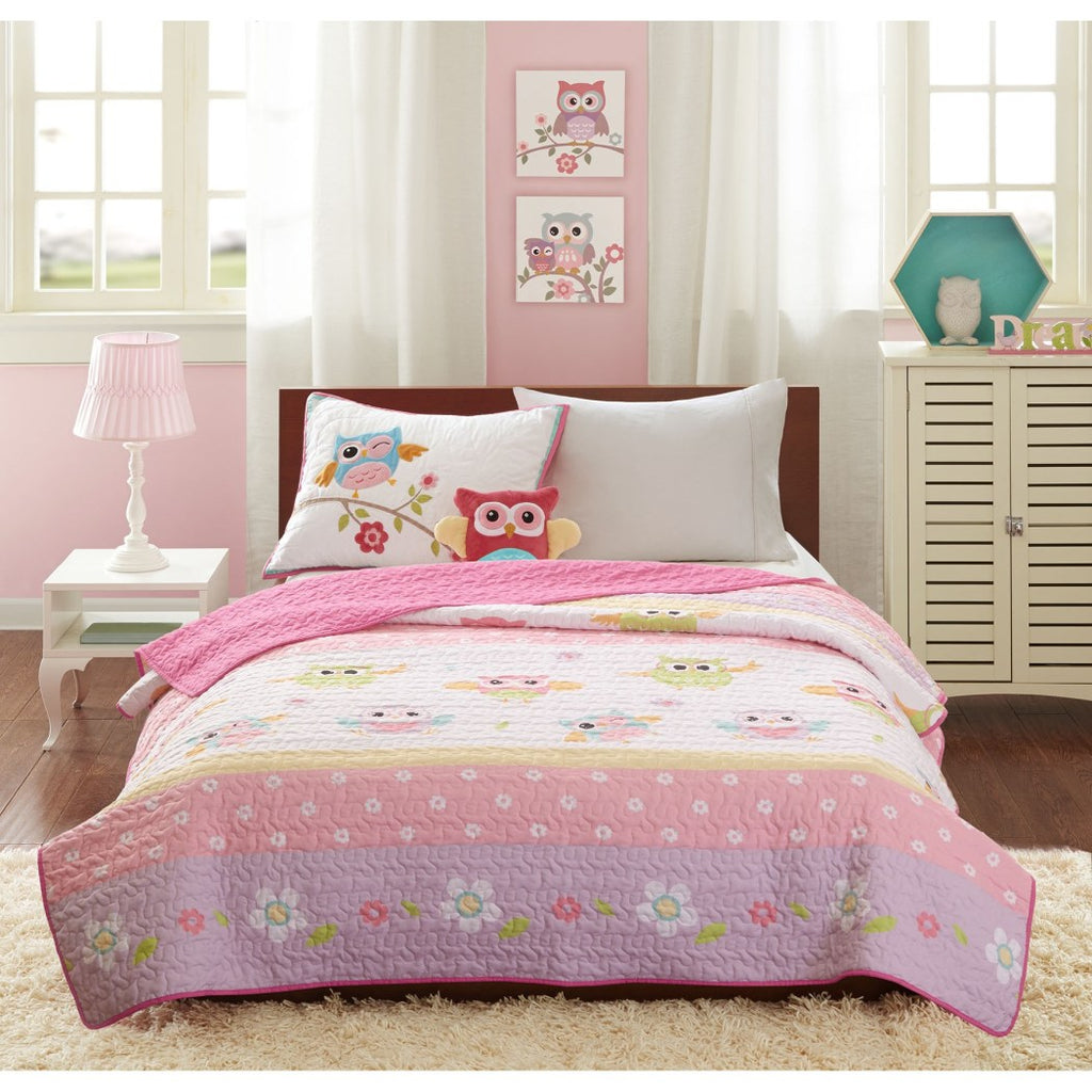 Kids Girls Owl Theme Coverlet Set Adorable Animal Bedding Nocturnal Birds Floral Pattern Flowers Horizontal Stripes Dancing