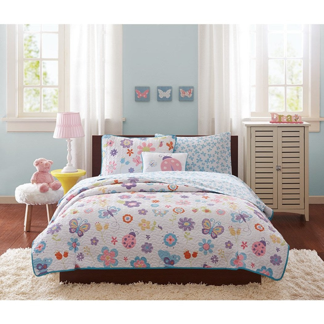 Girls Butterfly Coverlet Bedspread Set Kids Butterflies Ladybugs Decorative Pillow Pattern Red