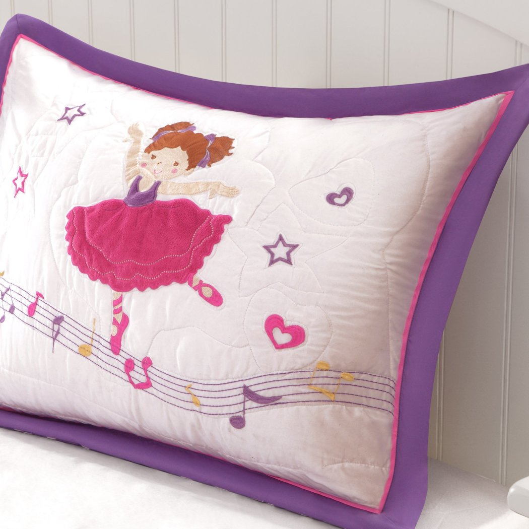 Girls Balla Patchwork Coverlet Set Pretty Girly Patch Work Ballet Dancer Bedding Cute Floral Dancing Dancers Shoes Heart Polka Dot Themed Pattern