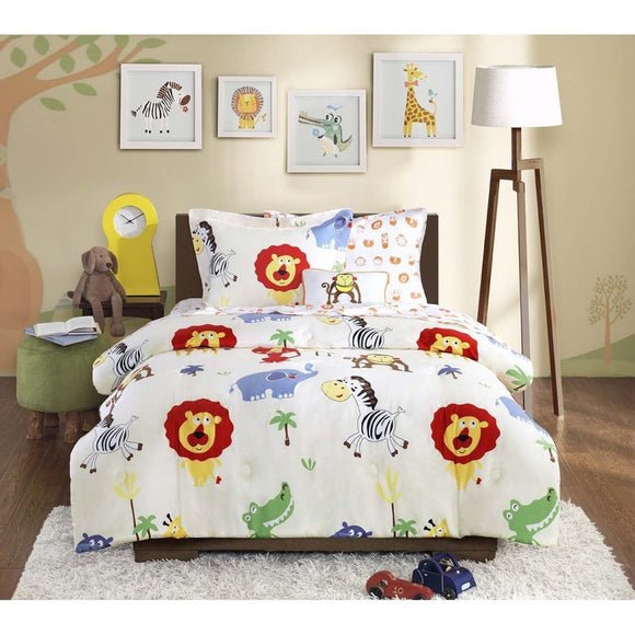 Kids Zoo Comforter Set Jungle Themed Bedding Children Monkeys Lions Zebras Crocodile Elephant African Wild Cute Safari Animals