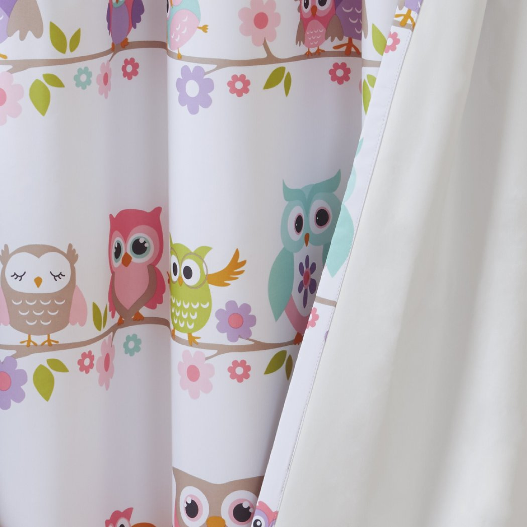 Nocturnal Owl Window Curtain Floral Drape Flowers Branch Animal Nature Blackout Noise Reducing Thermal Insulated