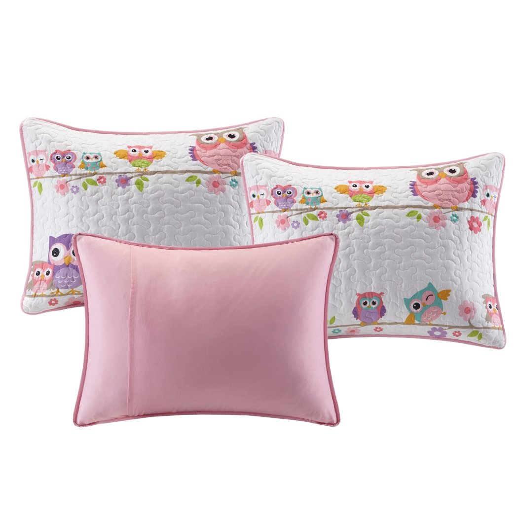 Kids Girls White Pink Owl Themed Daybed Set Cute Owls Bedding Daybeds Birds Colorful Purple Blue Orange Green Flowers Vines Polyester - Diamond Home USA