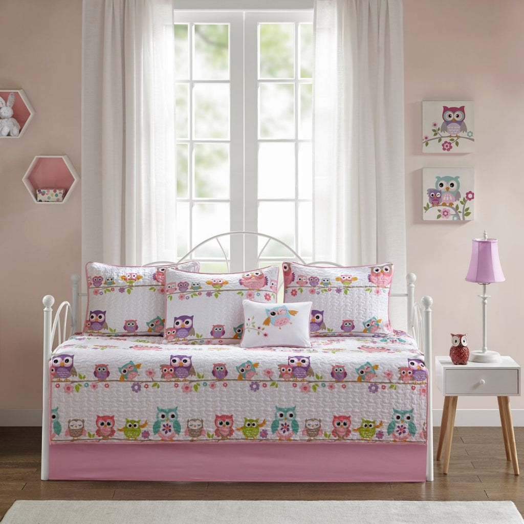 Kids Girls White Pink Owl Themed Daybed Set Cute Owls Bedding Daybeds Diamond Home
