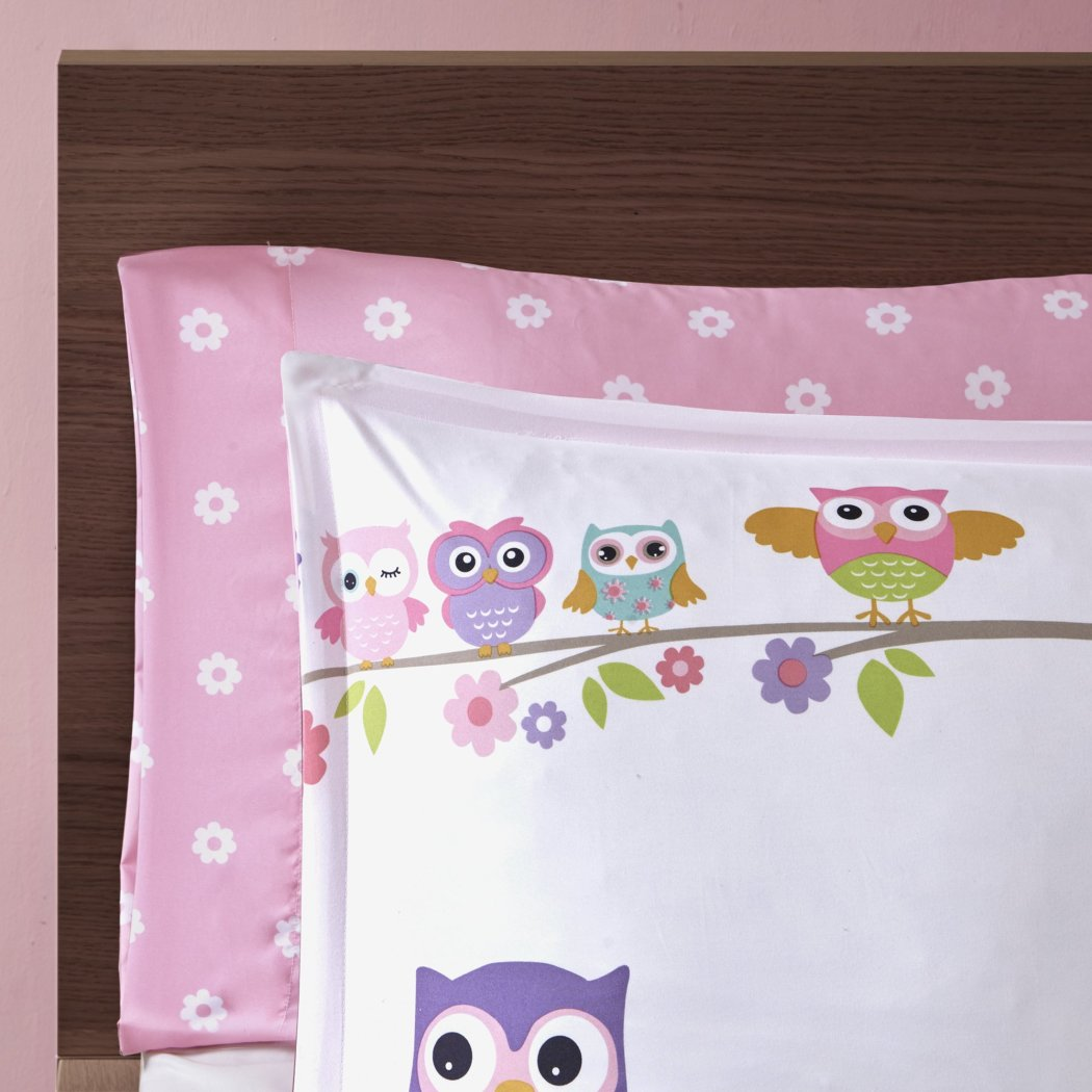 Off Girls Owl Floral Theme Comforter Set Cute Fun Owls Bedding Friendly Bird Animals Blosso Daisy Flower Tree Themed Polka Dots Pattern Green