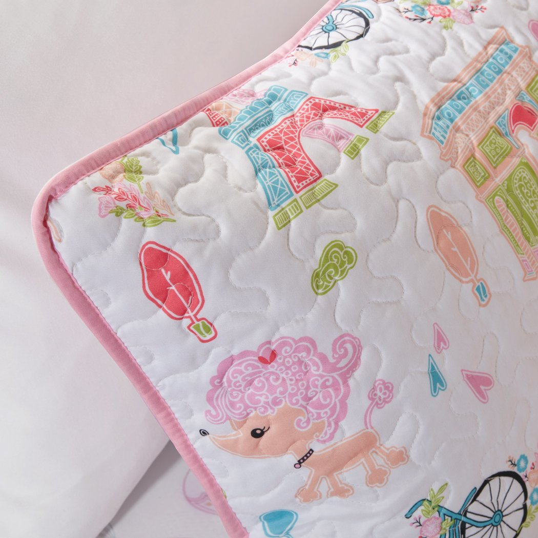 Girls I Love Paris Coverlet Set Cute Girly France Inspired Bedding Fun Pretty Eiffel Tower Bicycle Bike Hot Air Balloon Poodle Dog