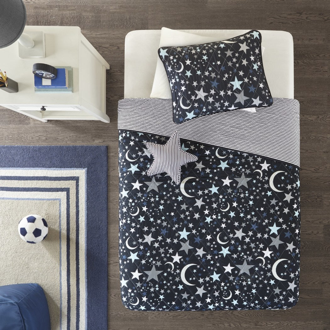 Kids Star Theme Coverlet Set Novelty Shooting Stars Planets Space Pattern Bedding Moon Outterspace Dazzles Microfiber