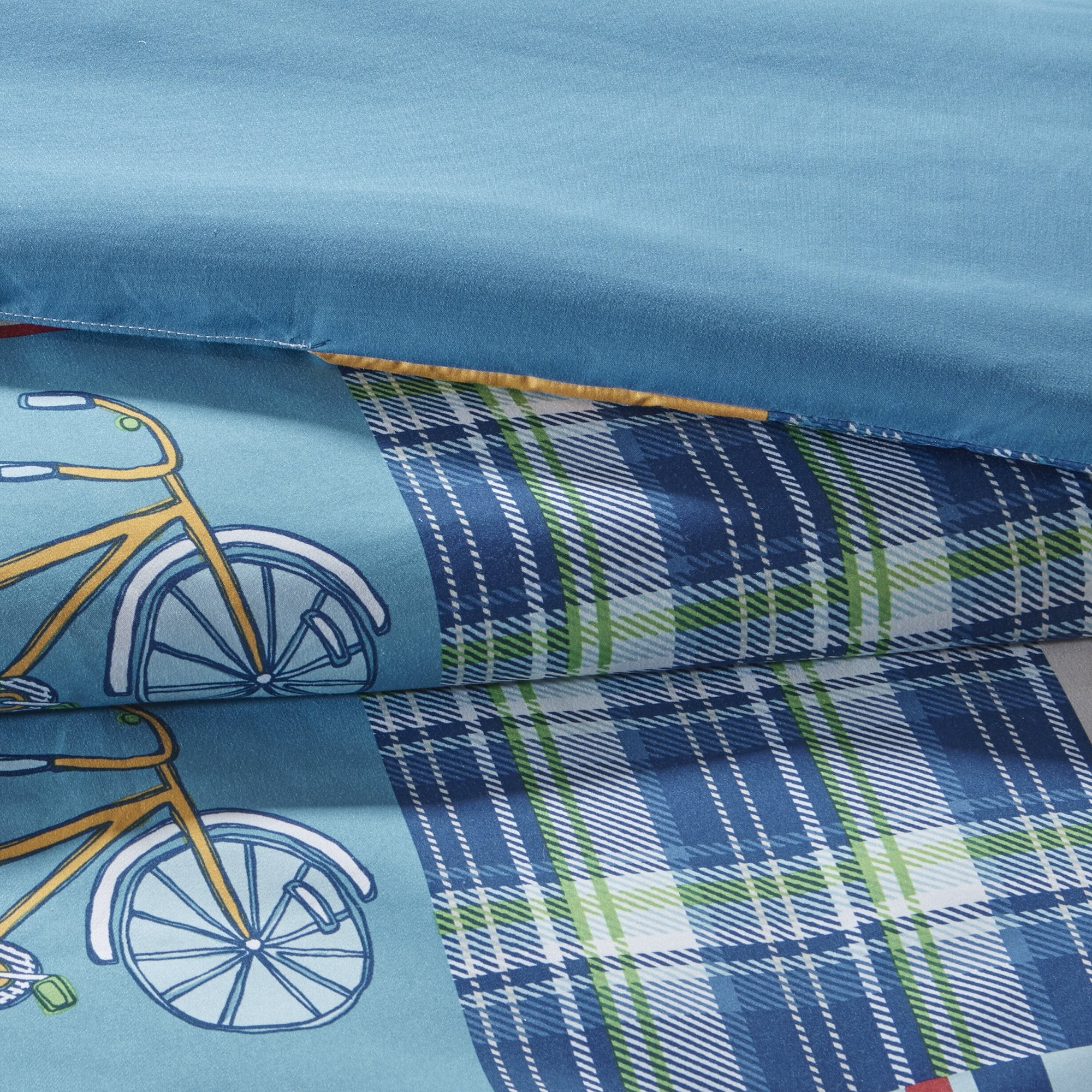 Boys Transportation Patchwpork Plaid Comforter Full Set Fun Train Train Bicycle Airplane Pattern Bedding Car Bus Stop Sign Light Stripe Themed Blue