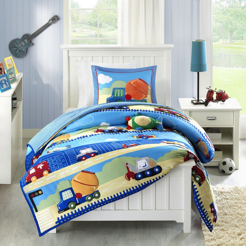Boys Truck Themed Comforter Set Fun Trucks Firetruck Ambulance Police Car Train Construction Air Plane Bedding Cute Cloud Landscape Pattern