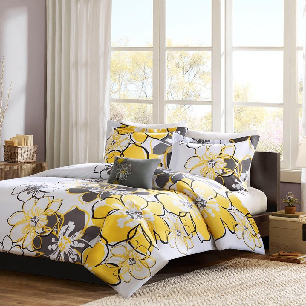 Girls Floral Themed Comforter Set Pretty Abstract Flower Pattern Summer Bedding Flowers Reversable