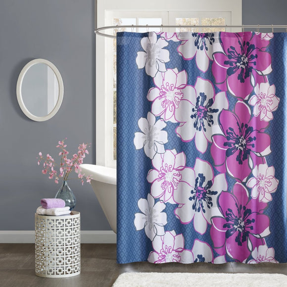 Girls Navy Blue Pink Purple Graphical Nature Themed Shower Curtain Polyester Detailed Fuchsia Flowers Printed Abstract Floral Pattern Classic Elegant - Diamond Home USA