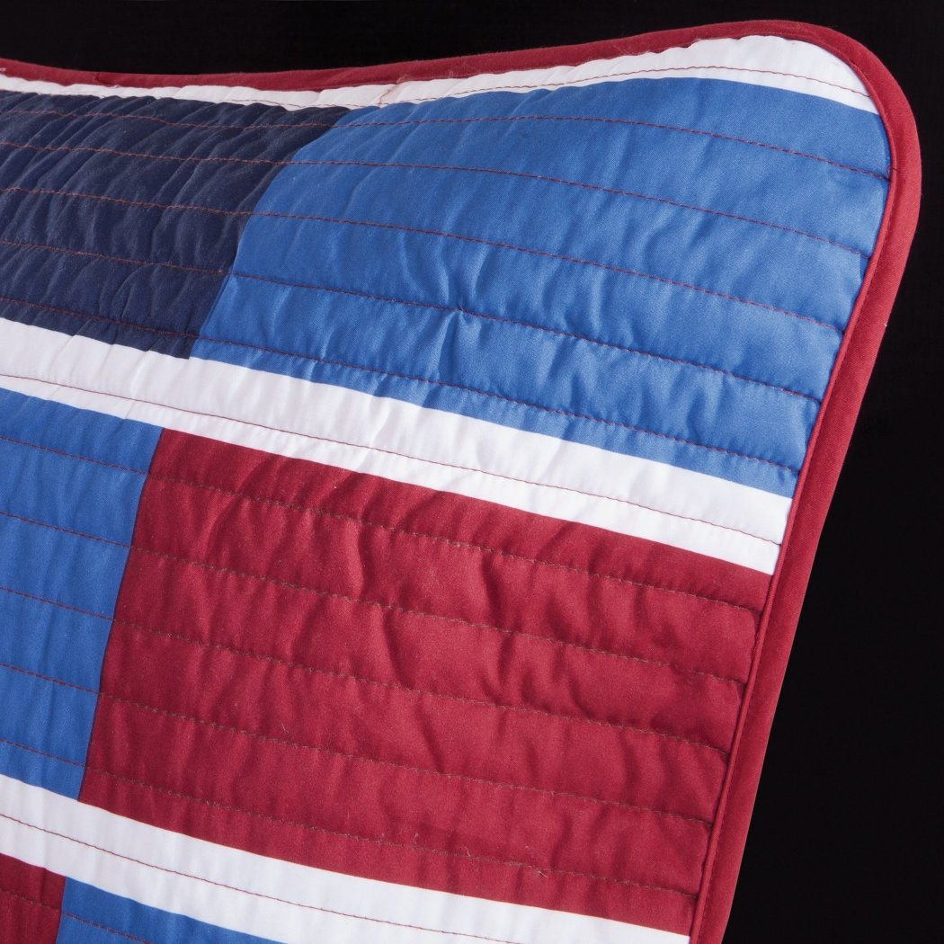 Patchwork Coverlet Stylish Rectangles Quilted Rectangle Stripe Pattern Pillow Microfiber Polyester